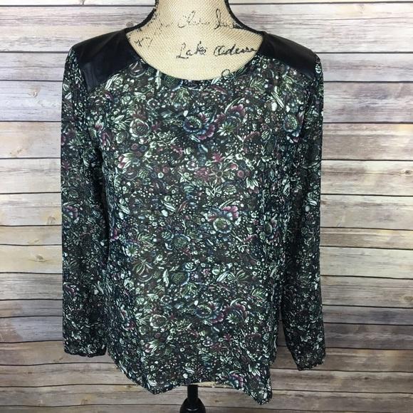 8c8080e29 LOFT Tops | Sz Xs Black Purple Floral Blouse Faux Leather | Poshmark